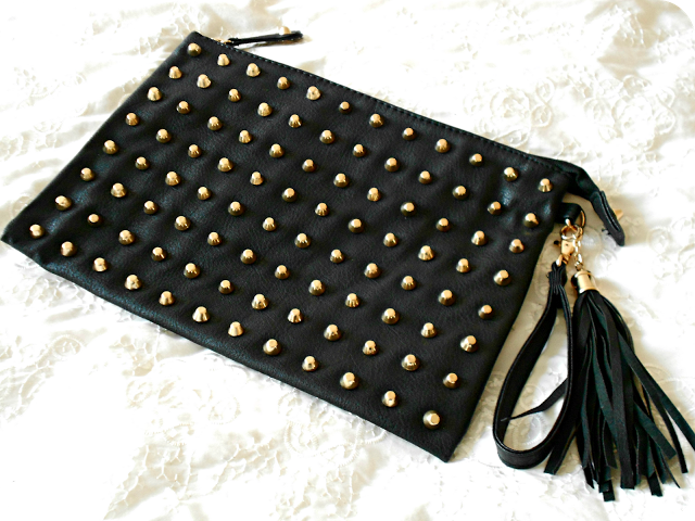 Primark Black Studded Clutch Bag Photo